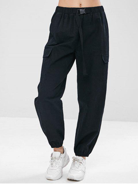 lady ZAFUL Drawstring Pocket Jogger Pants - BLACK L Mobile