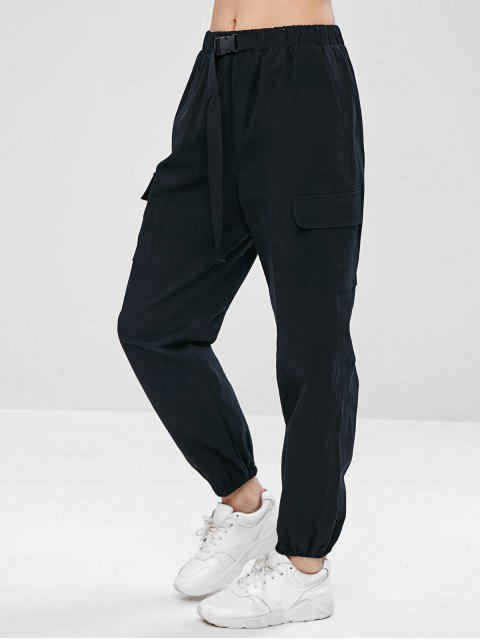 lady ZAFUL Drawstring Pocket Jogger Pants - BLACK L Mobile