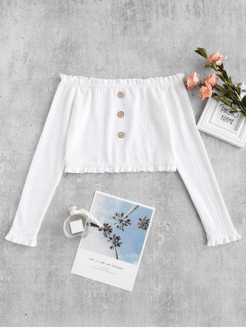 lady ZAFUL Cropped Buttoned Off Shoulder Top - WHITE S Mobile