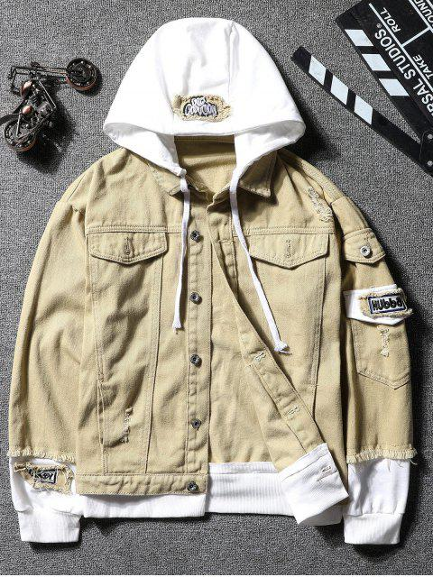 online Casual Faux Pocket Ripped Letter Number Applique Hooded Jacket - LIGHT KHAKI XL Mobile