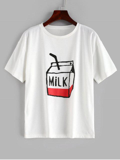 outfit ZAFUL Milk Graphic Relaxed Tee - WHITE L Mobile