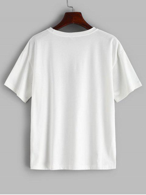 Tee-shirt graphique ZAFUL Wreath Girl Relaxed - Blanc L Mobile