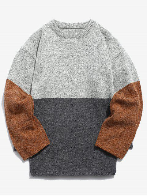 trendy Casual Panel Knit Sweater - LIGHT GRAY 2XL Mobile