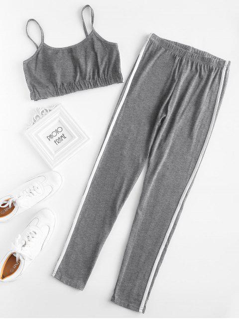 latest Stripe Trim Crop Cami Top with Leggings Set - GRAY M Mobile