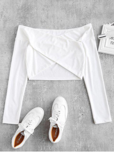 online ZAFUL Criss Cross Off Shoulder Top - WHITE M Mobile