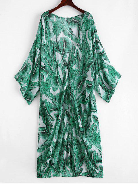 shops Palm Leaf Beach Kimono - JUNGLE GREEN ONE SIZE Mobile