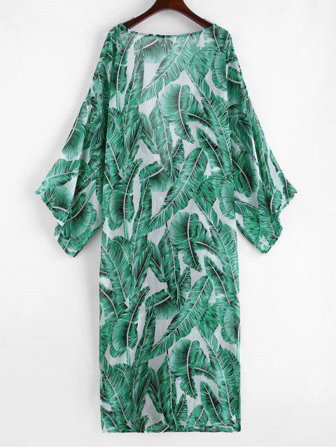 Kimono de Plage Palmier Fleuille - Vert Jungle Taille Unique Mobile