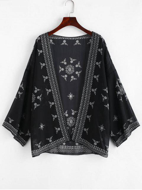 latest Printed Beach Kimono - BLACK ONE SIZE Mobile