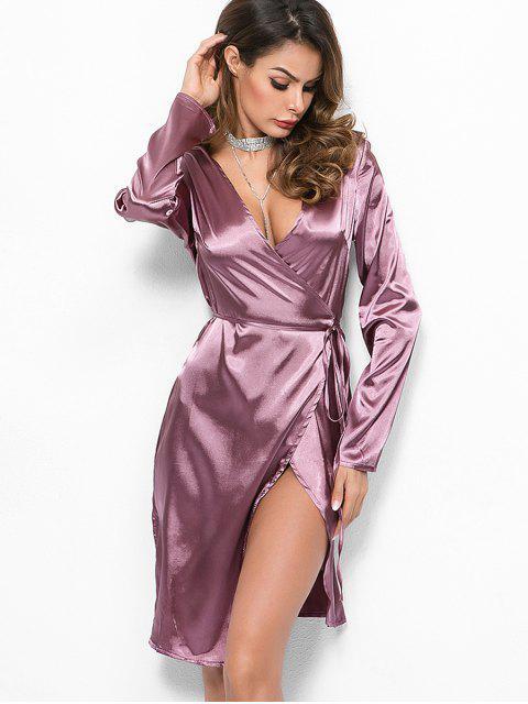 fashion Long Sleeves Satin Wrap Dress - LILAC S Mobile