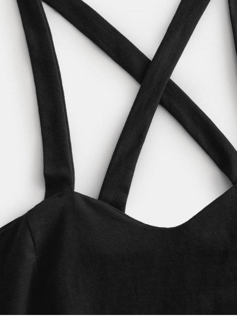 womens Crisscross Tie Crop Top - BLACK S Mobile