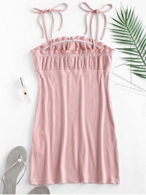 sale Empire Waist Ruffles Cami Dress - PINK M Mobile