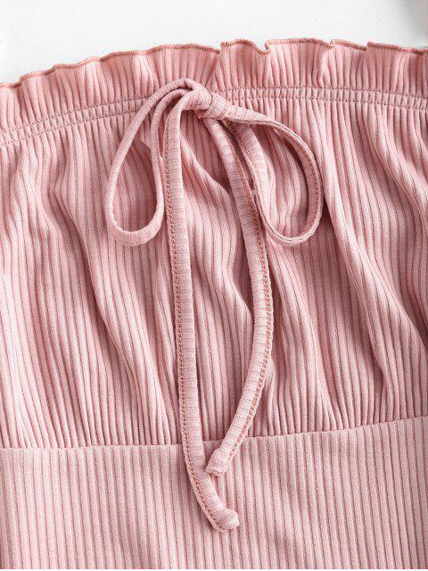 Robe à Bretelle Taille Empire à Volants - Rose  XL Mobile