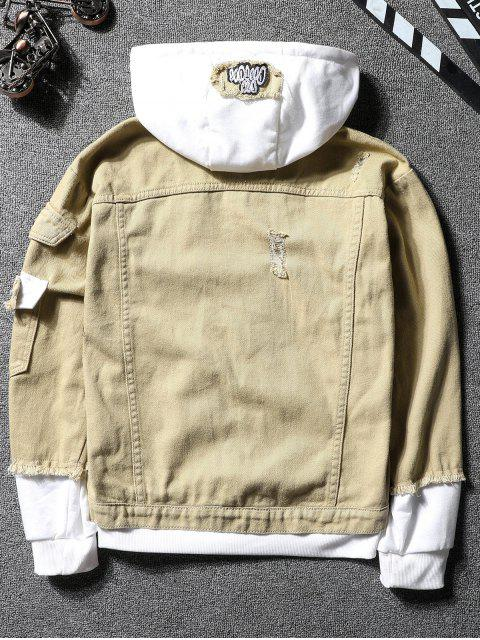 lady Casual Faux Pocket Ripped Letter Number Applique Hooded Jacket - LIGHT KHAKI M Mobile