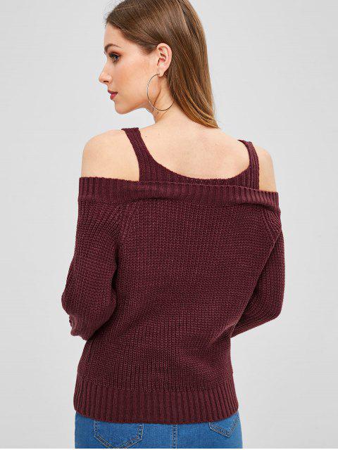 Pullover mit V Ausschnitt und Kalter Schulter - Roter Wein Eine Größe Mobile