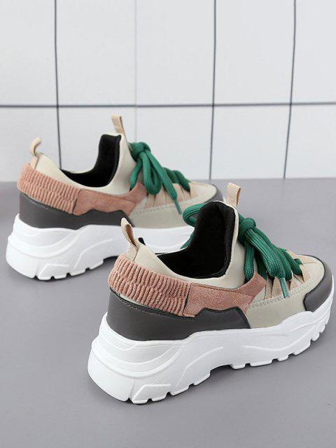 women's Color Block Platform Ugly Sneakers - WARM WHITE EU 37 Mobile