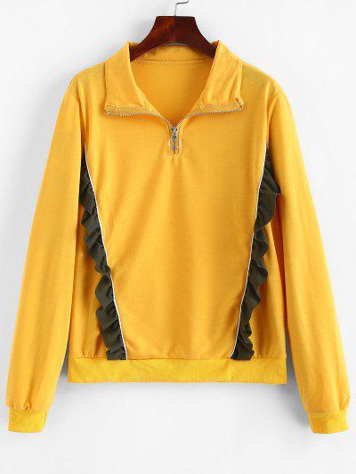 Ruffled Quarter Zip  Pullover Sweatshirt - Bee Yellow L