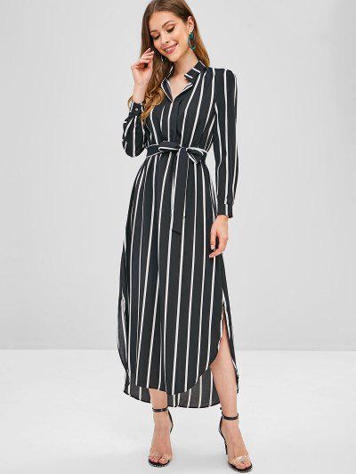 77d2515619 ... Stripes High Low Slit Maxi Dress - Black S
