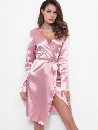 Long Sleeves Satin Wrap Dress - Light Pink M
