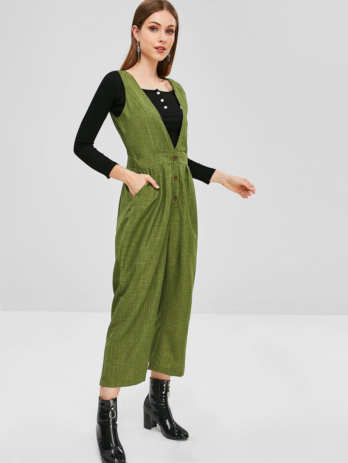 Sleeveless Half Buttoned Wide Leg Overalls, Seaweed green