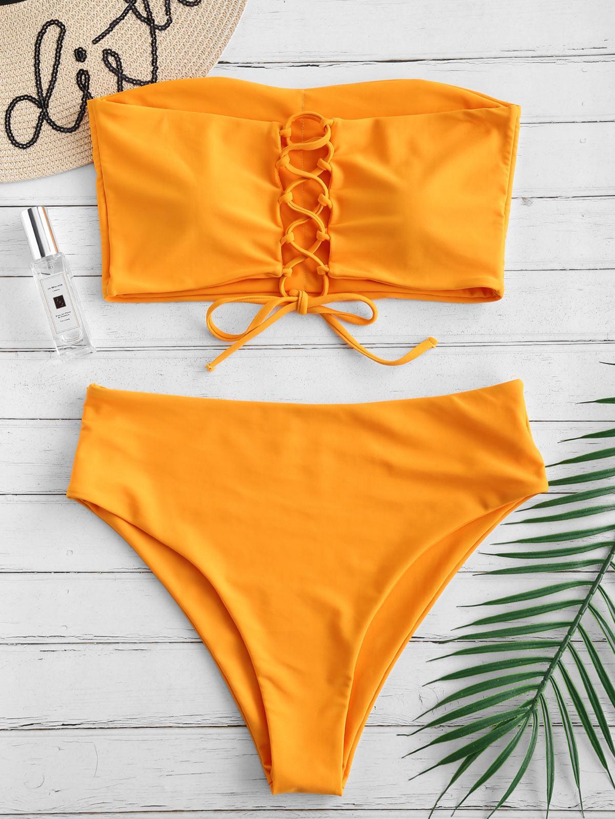 ZAFUL Lace-up High Rise Bandeau Bikini Set, Sandy brown