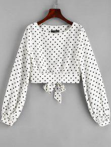 ZAFUL Dots Knotted Cropped Blouse - حليب ابيض S