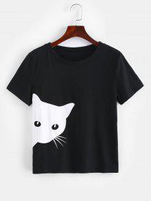 ZAFUL القط الجرافيك قصيرة الأكمام تي - أسود S