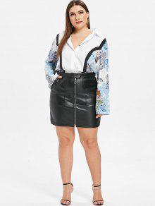 dd8e04092 29% OFF] 2019 ZAFUL Faux Leather Plus Size Pocket Skirt In BLACK   ZAFUL