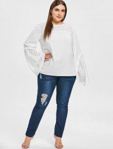 e1f484d2c754d 31% OFF  2019 Flare Sleeve Plus Size Eyelet Blouse In WHITE 3X