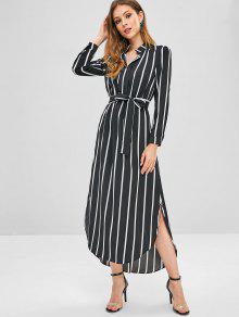 Stripes ارتفاع منخفض شق فستان ماكسي - أسود L