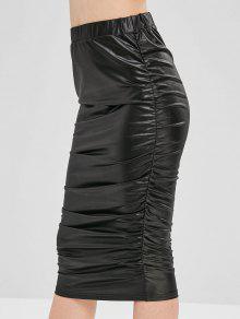 Cinched فو الجلود تنورة - أسود L