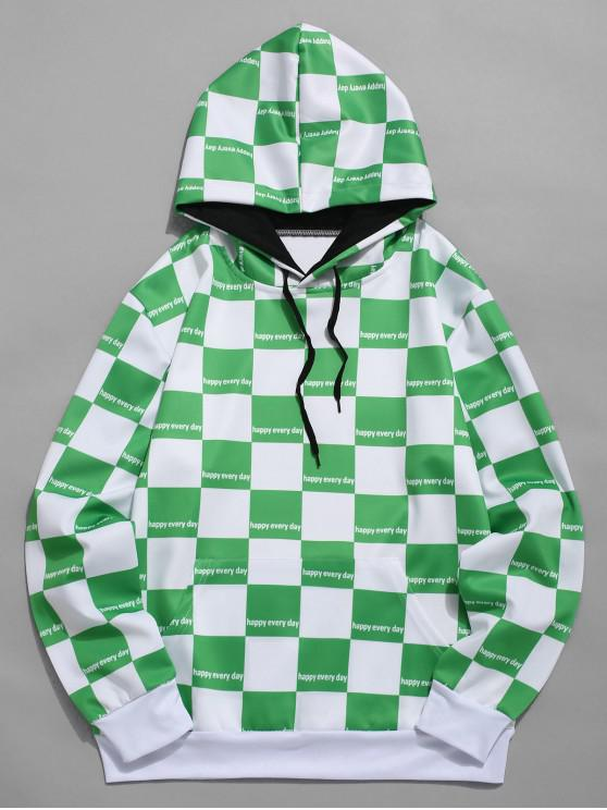 outfits Plaid Print Color Block Casual Hoodie - CLOVER GREEN XL