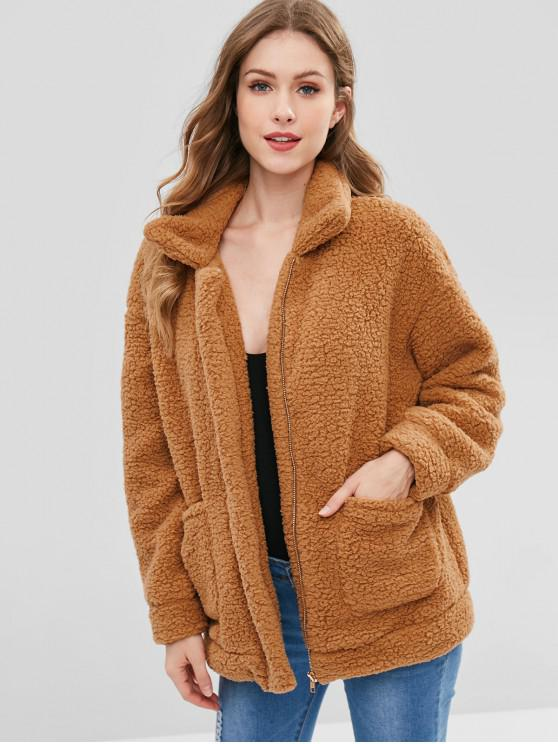 trendy Zip Up Fluffy Faux Fur Winter Coat - BROWN M