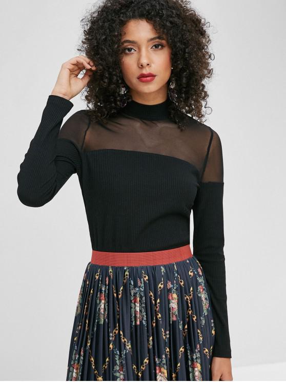 womens ZAFUL Mesh Panel Mock Neck Knit Top - BLACK XL
