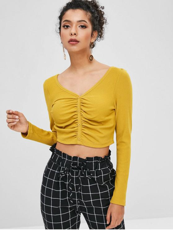 ZAFUL Ribbed Ruched Crop Knit Tee - نحلة صفراء S