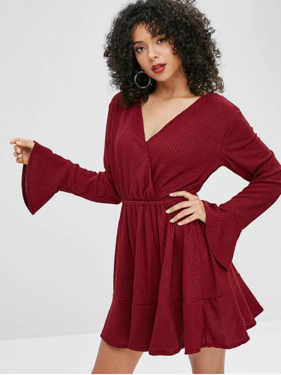 outfit Long Sleeve Surplice A Line Ribbed Dress - RED WINE S