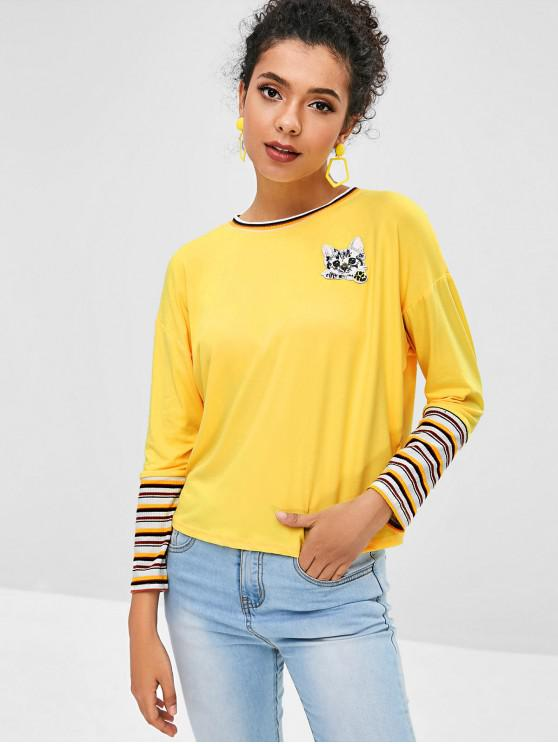 chic Kitten Applique Striped Ribbed Trim Tee - YELLOW S