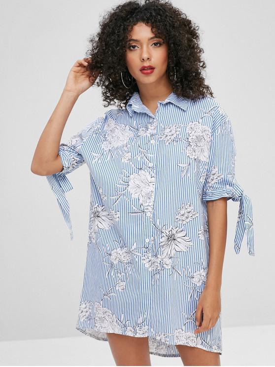 ladies Tie Sleeve Floral Stripe Print Shirt Dress - MULTI L