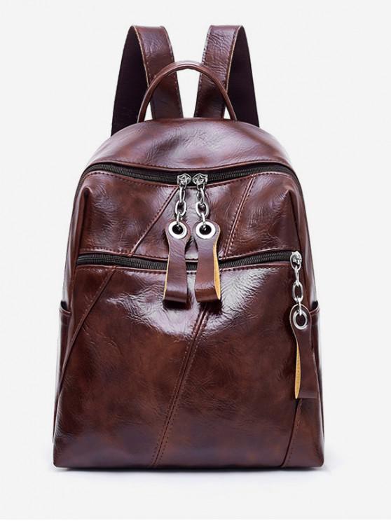 women's Zip Pocket PU Leather School Bag - COFFEE