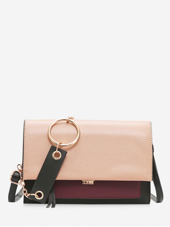 latest Contrast Color Chain Handle Corssbody Bag - WARM WHITE