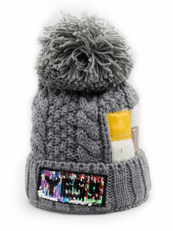 new Fuzzy Ball Decoration Flanging Knitted Beanie - GRAY