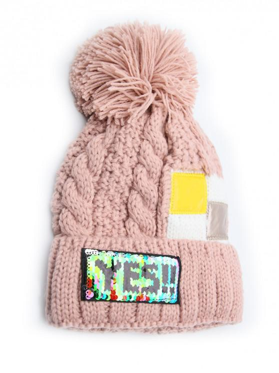 Fuzzy Ball Decoration Flanging Knitted Beanie - زهري