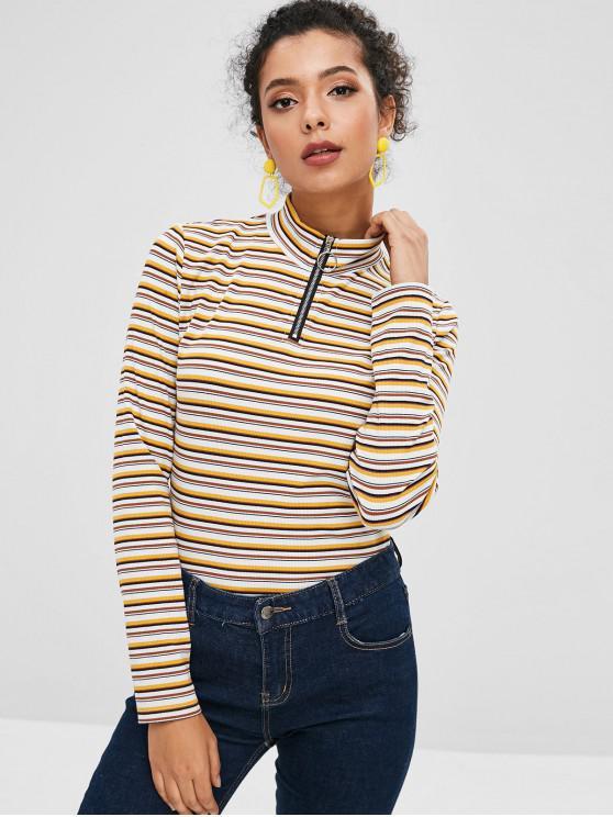 fancy ZAFUL Half Zip Striped Long Sleeves Knitwear - MULTI L