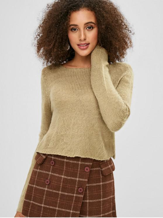 lady Scoop Neck Crop Sweater - TAN ONE SIZE