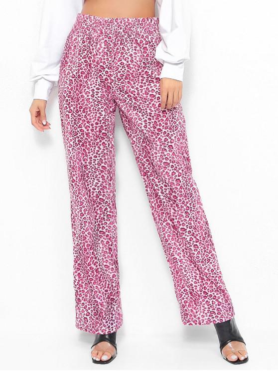 Pantaloni Larghi Con Stampa Leopardata - Rosa Rosa L