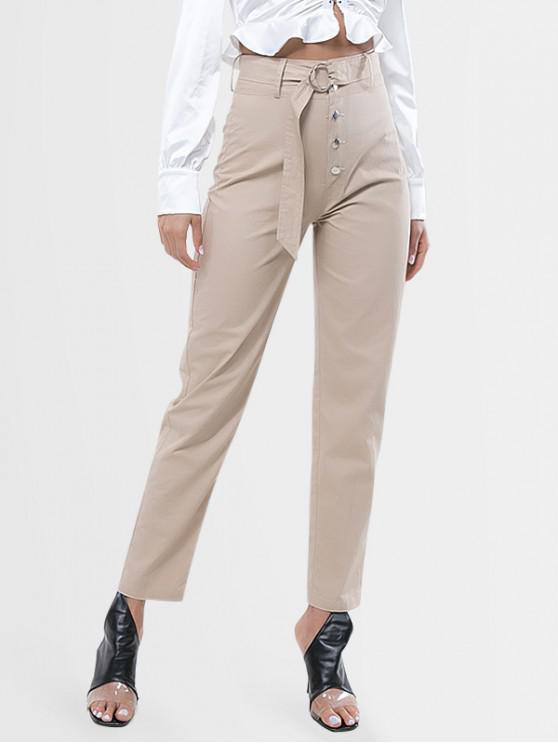 new Button Fly High Waist Belted Pants - LIGHT KHAKI M