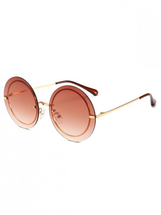chic Metal Frame Round Rimless Modern Sunglasses - COFFEE