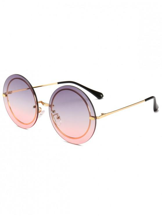 shops Metal Frame Round Rimless Modern Sunglasses - PINK