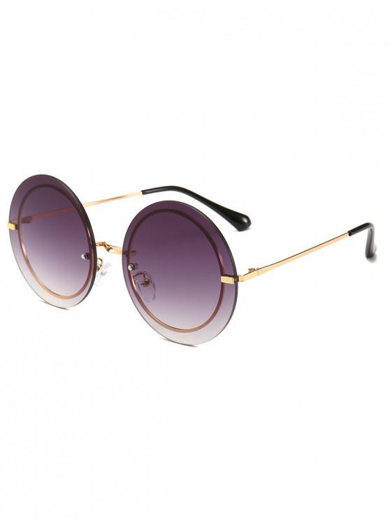buy Metal Frame Round Rimless Modern Sunglasses - GRAY