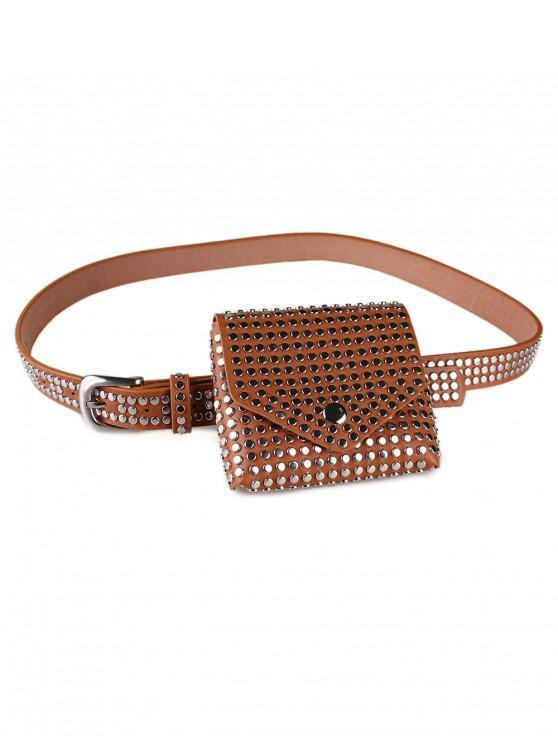 hot Rivet Embellished Fanny Pack Belt - LIGHT BROWN
