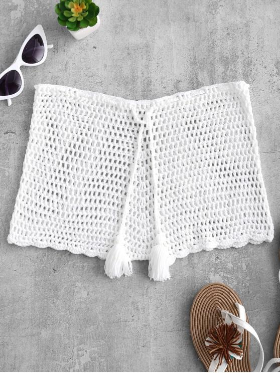fancy Drawstring Crochet Shorts - WARM WHITE S